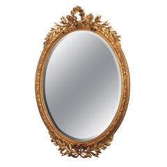 Antique Louis XVI Gold Leaf Bevelled Mirror