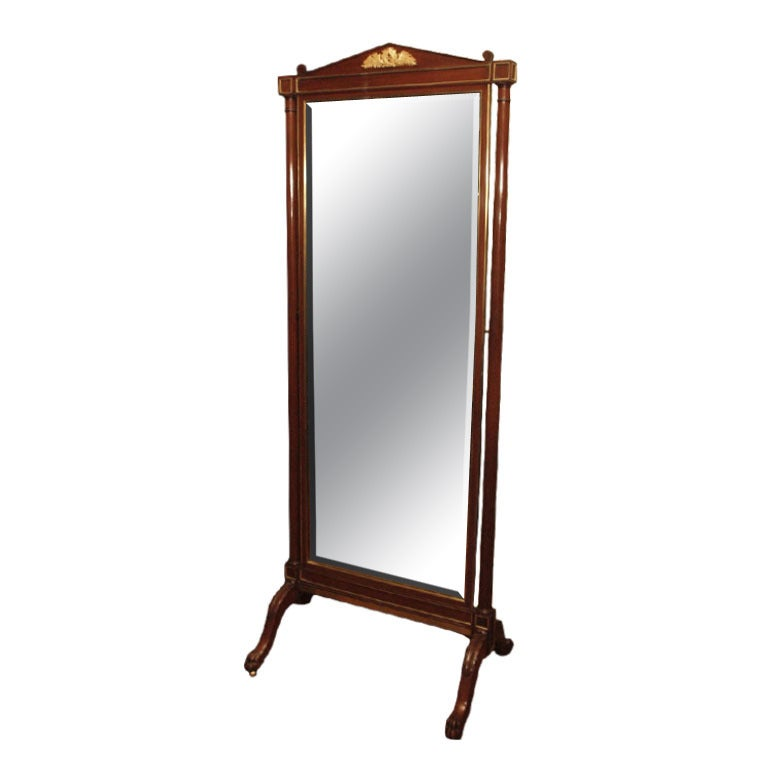 Antique french empire cheval mirror at 1stdibs for Vintage floor length mirror