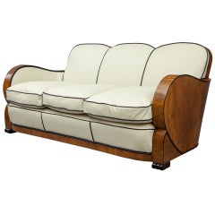 European Antique Walnut Italian Leather Art Deco Sofa from France
