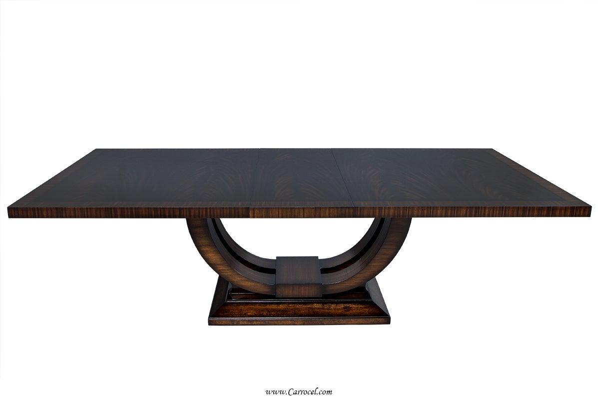Extraordinary Custom-Made Art Deco Mahogany Dining Table with Rosewood Banding