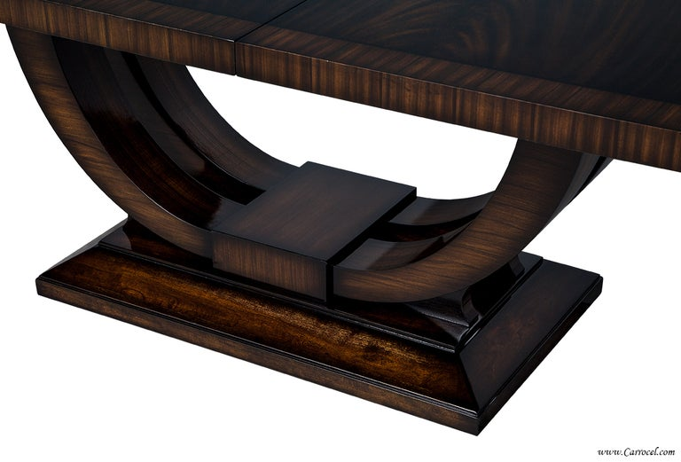 extraordinary custom made art deco mahogany dining table with rosewood