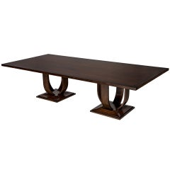 Magnificent Modern Custom Made Art Deco Walnut And Burled Walnut Dining Table