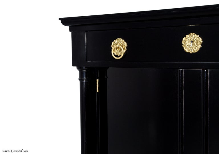 Exquisite Pair Of Hand-rubbed Black Lacquer Armoires Cabinets By Ej Victor 7