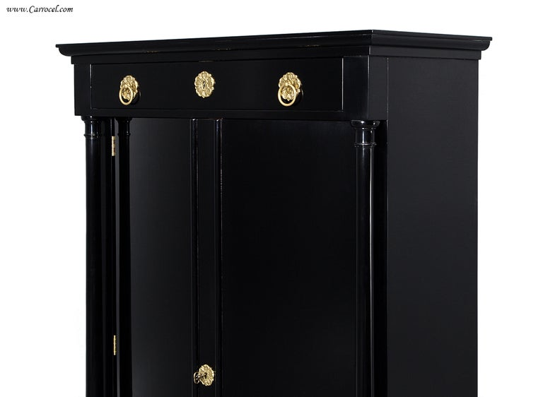 Exquisite Pair Of Hand Rubbed Black Lacquer Armoires Cabinets By Ej Victor  For Sale At 1stdibs