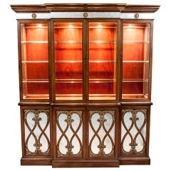 EJ VICTOR Luxurious Mahogany Breakfront China Cabinet Bookcase