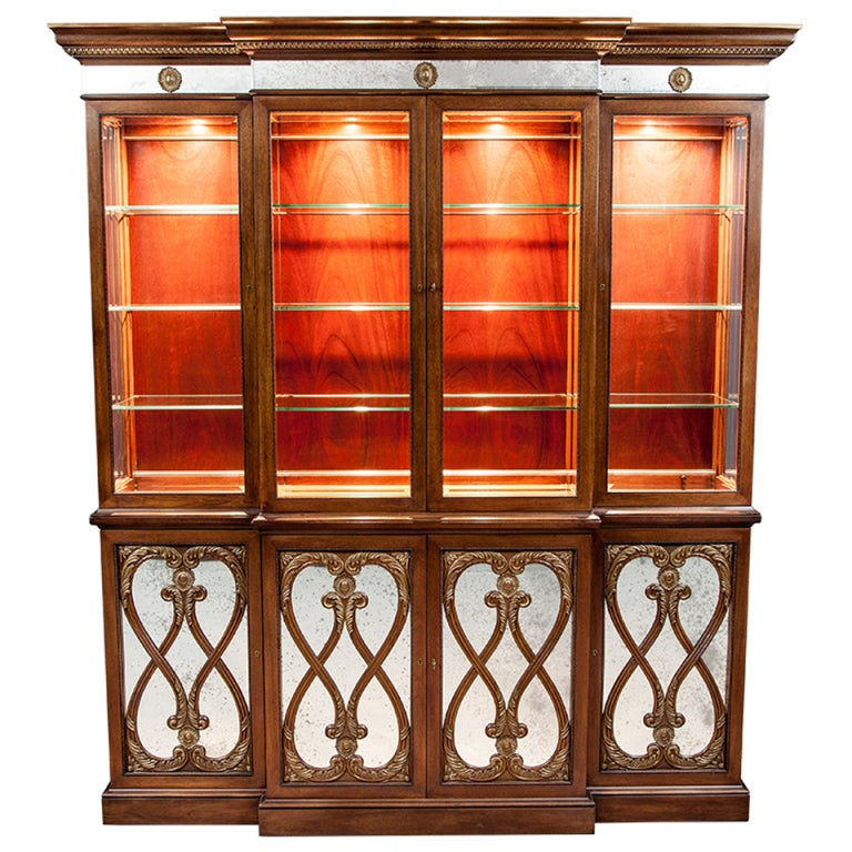 EJ VICTOR Luxurious Mahogany Breakfront China Cabinet