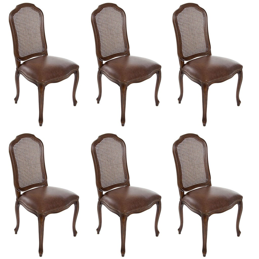Set of 6 italian french louis xv cane back dining side for 6 dining room chairs