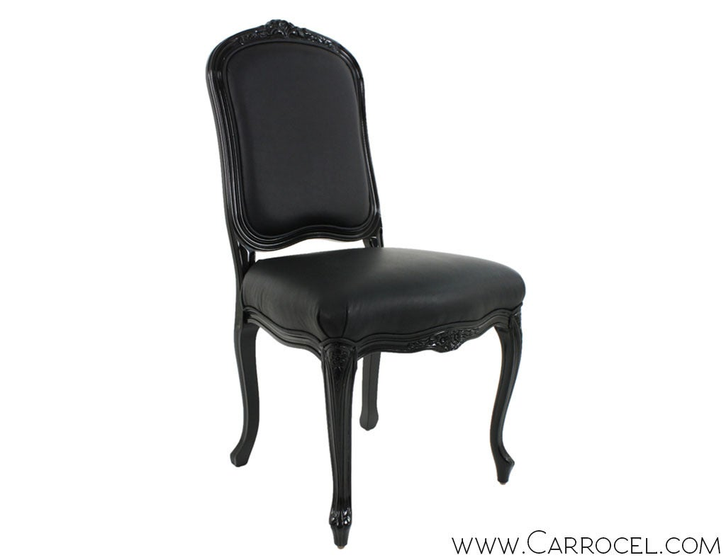 Louis xv dining chair - Set Of 8 Louis Xv Black Lacquered Leather Dining Chairs 2