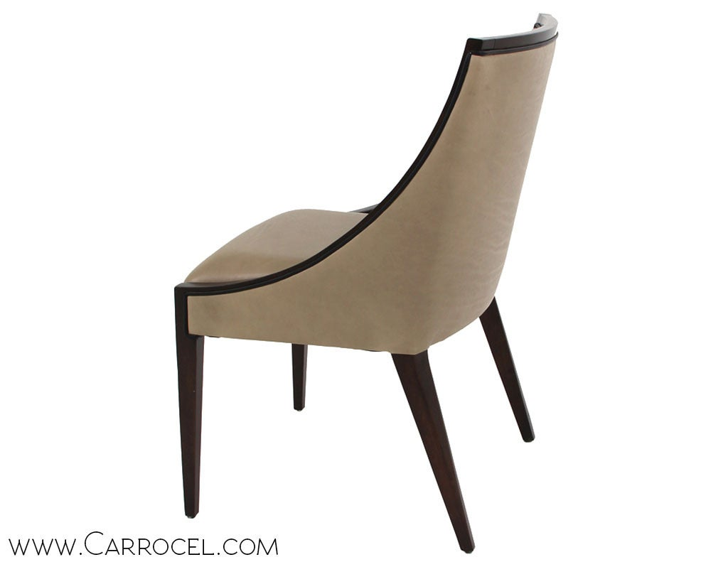 Set of 8 custom modern deco contemporary upholstered for Contemporary furniture dining chairs