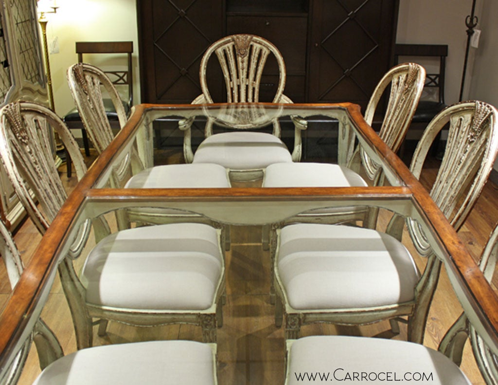 distressed 9 piece antiqued white glass top walnut dining table set at