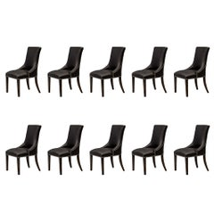 Set of 10 Custom Contemporary Modern Black Leather Deco Dining Chairs