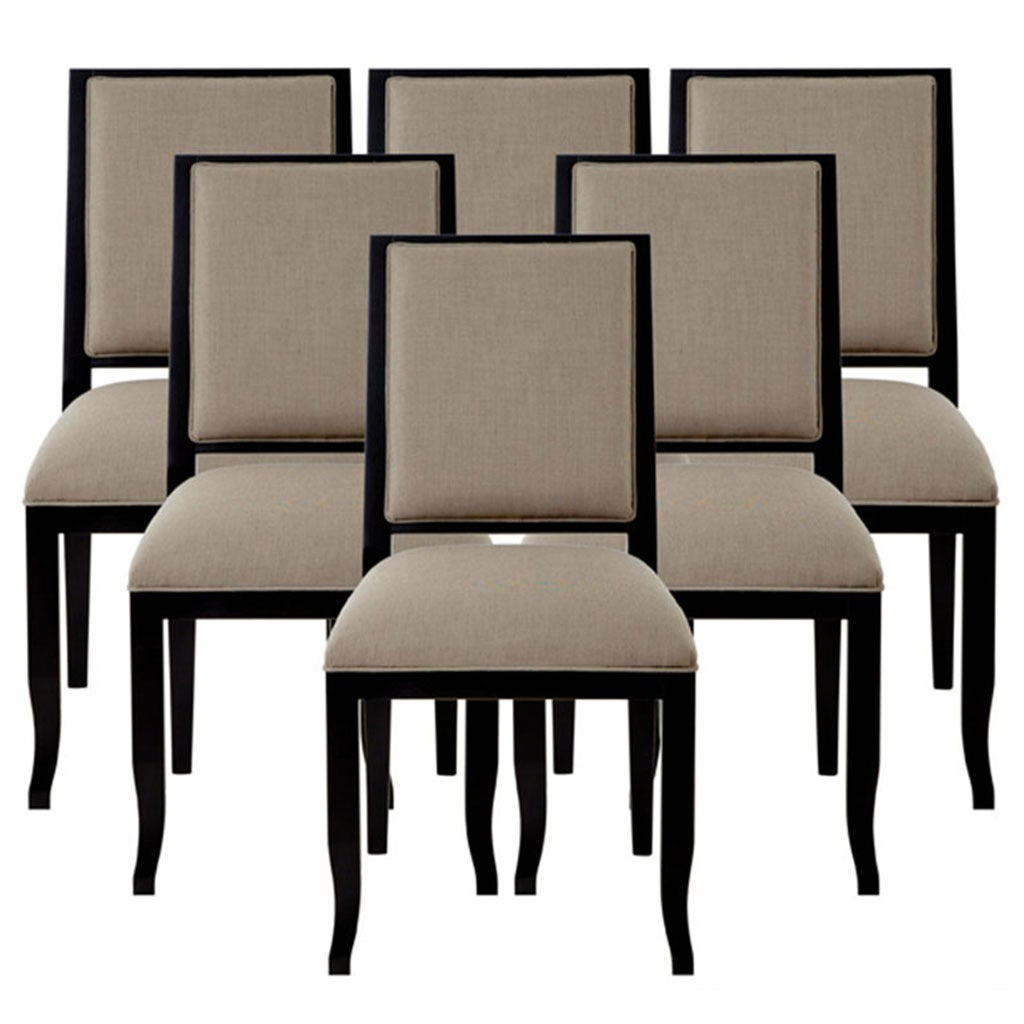 Modern Set Of 6 Custom Contemporary Dining Side Chairs For