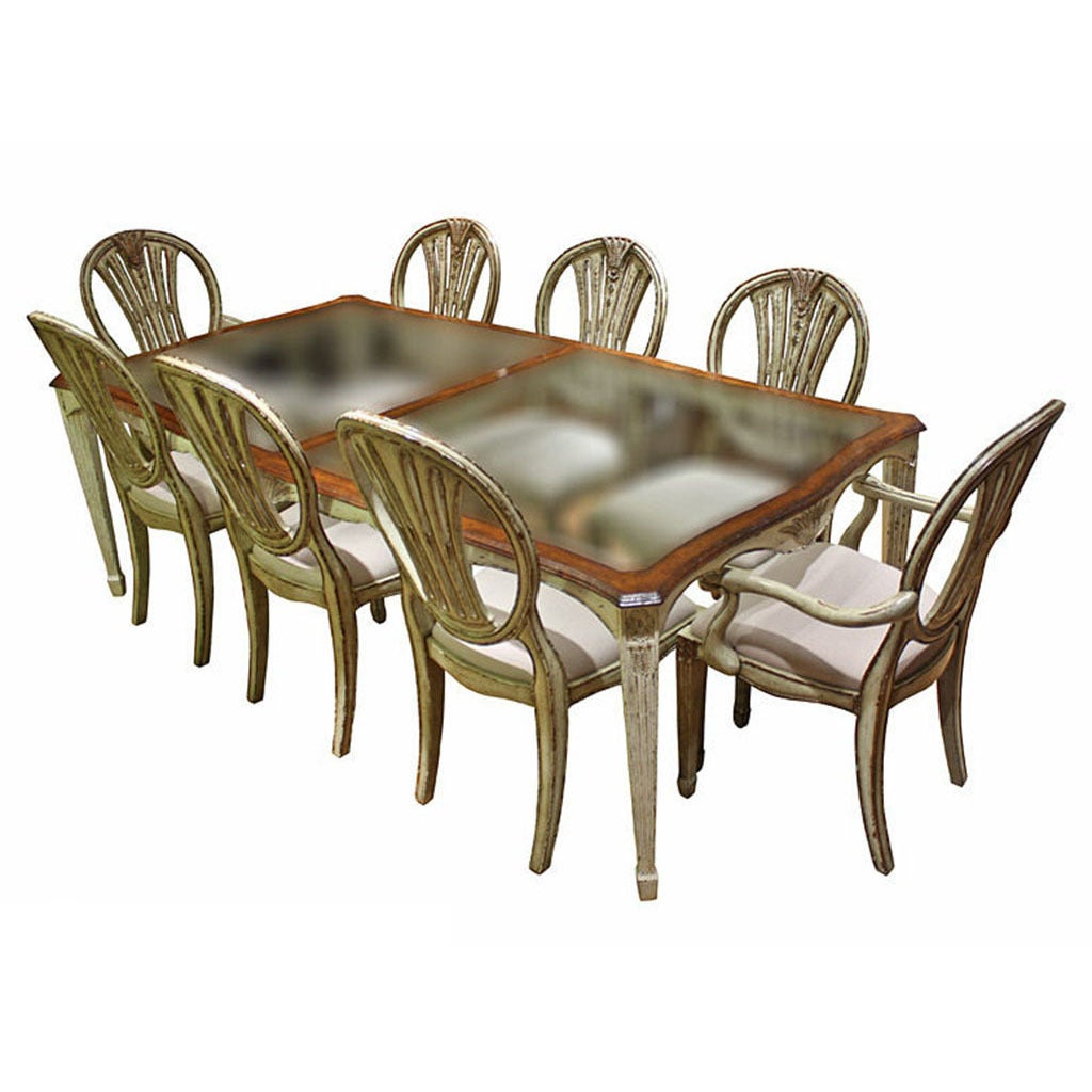 Distressed 9 piece antiqued white glass top walnut dining for Distressed white dining table