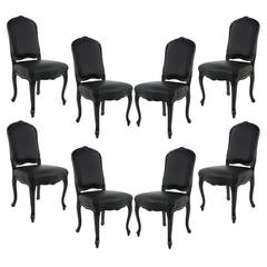 Set of Eight Louis XV Black Lacquered Leather Dining Chairs