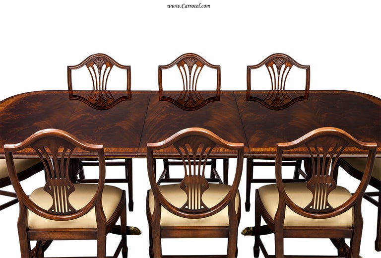 Flamed Mahogany Duncan Phyfe Style High Gloss Dining Table And Chairs Set 3