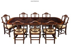 High Quality Flamed Mahogany Duncan Phyfe High Gloss Dining Table & Chairs Set