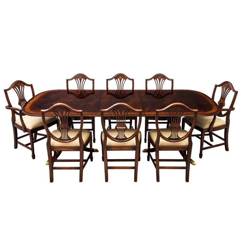 Flamed Mahogany Duncan Phyfe Style High Gloss Dining Table And Chairs Set 1