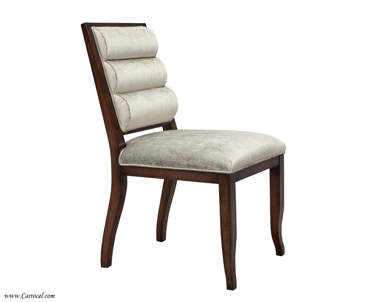 set of 10 custom art deco modern upholstered roll back dining chairs