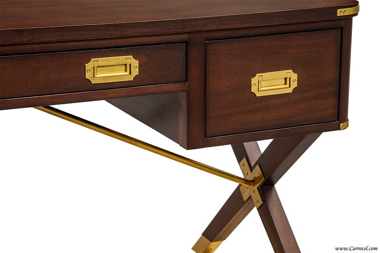 ASHEWORTH CAMPAIGN DESK BY HICKORY CHAIR Walnut Desk With X Legs MADE IN USA