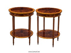 Pair of HIGH END Crotch Swirl Flamed Mahogany Round End Sofa Tables
