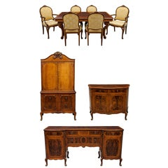 Amazing American Louis XV 10 Piece Rosewood And Walnut Complete Dining Set Suite