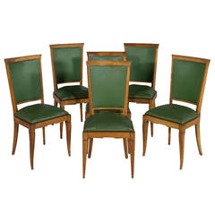 Set of Six Art Deco Leather Dining Chairs