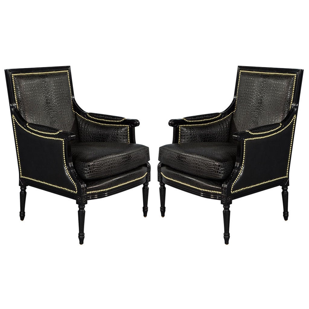 Custom Louis XVI Black Croc Chairs 1