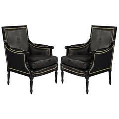Custom Louis XVI Black Croc Chairs