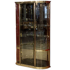 Brushed Steel and Brass Display Cabinet