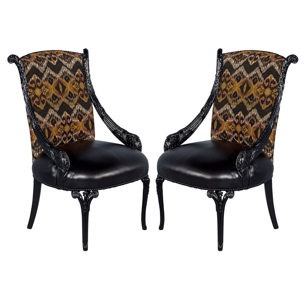 Pair of hand carved antique parlour chairs for sale at 1stdibs for Parlour chair for sale