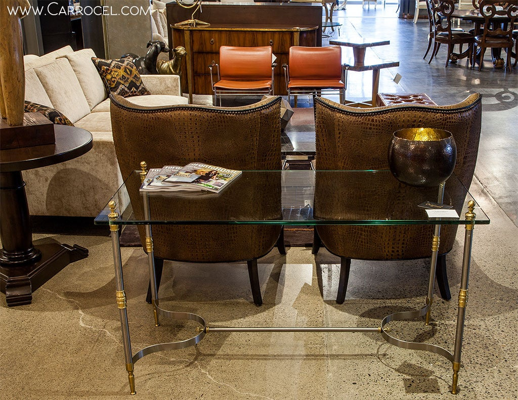 glass top transitional console table for sale at 1stdibs. Black Bedroom Furniture Sets. Home Design Ideas
