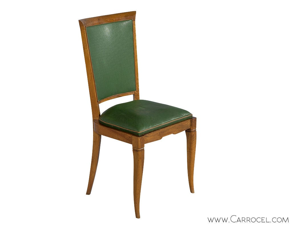 Set Of Six Art Deco Leather Dining Chairs At 1stdibs