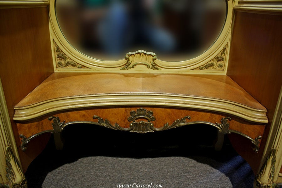 vintage french provincial bedroom vanity mirror desk at