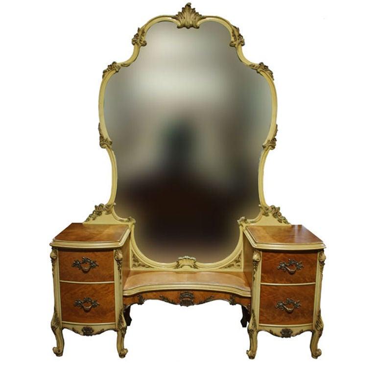 Vintage French Provincial Bedroom Vanity Mirror Desk 1 - Vintage French Provincial Bedroom Vanity Mirror Desk At 1stdibs