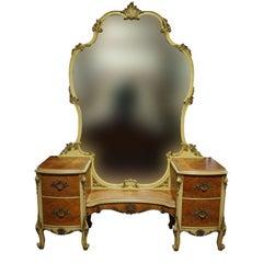 Vintage French Provincial Bedroom Vanity Mirror Desk