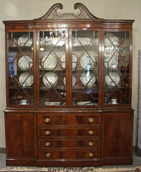 Antique Breakfront Crotch Mahogany China Cabinet Hutch At