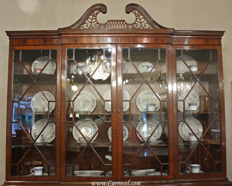 American Antique Breakfront Crotch Mahogany China Cabinet Hutch For Sale - Antique Breakfront Crotch Mahogany China Cabinet Hutch At 1stdibs