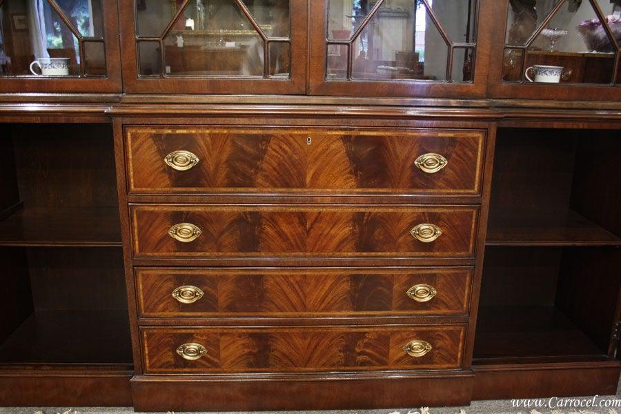 Antique Breakfront Crotch Mahogany China Cabinet Hutch At