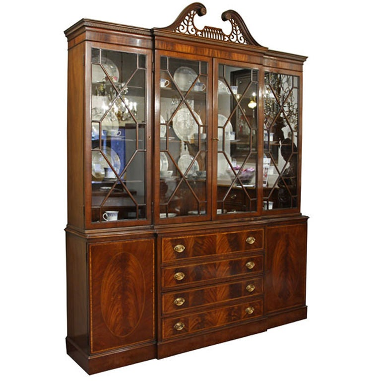 Antique Breakfront Crotch Mahogany China Cabinet Hutch At 1stdibs