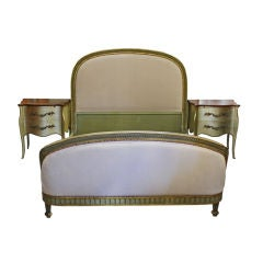 Antique French Louis XVI Upholstered Double Bed Set