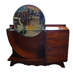 Vintage Mirrored Rosewood Art Deco Console Cabinet