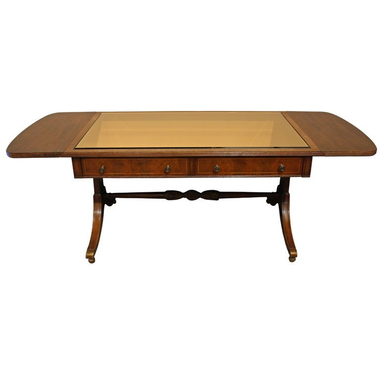 Antique Regency Glass Top Drop Leaf Coffee Table At 1stdibs