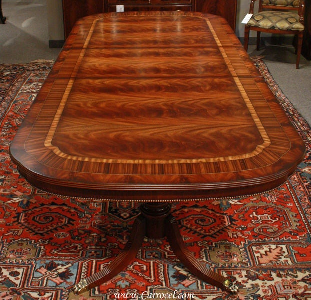 custom flamed inlaid mahogany dining table beaded skirt set osrs legs