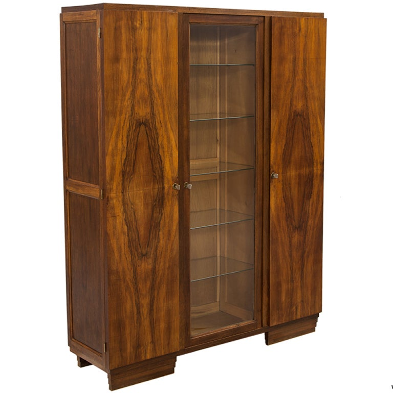 Antique Walnut Art Deco European Armoire Display Bar Cabinet From France  For Sale