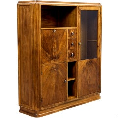 Antique Walnut and Mahogany Art Deco European French Armoire Cabinet from France