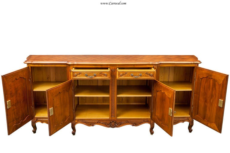 Vintage French Provincial Cherry Sideboard Buffet With Parquet Top From  France 2