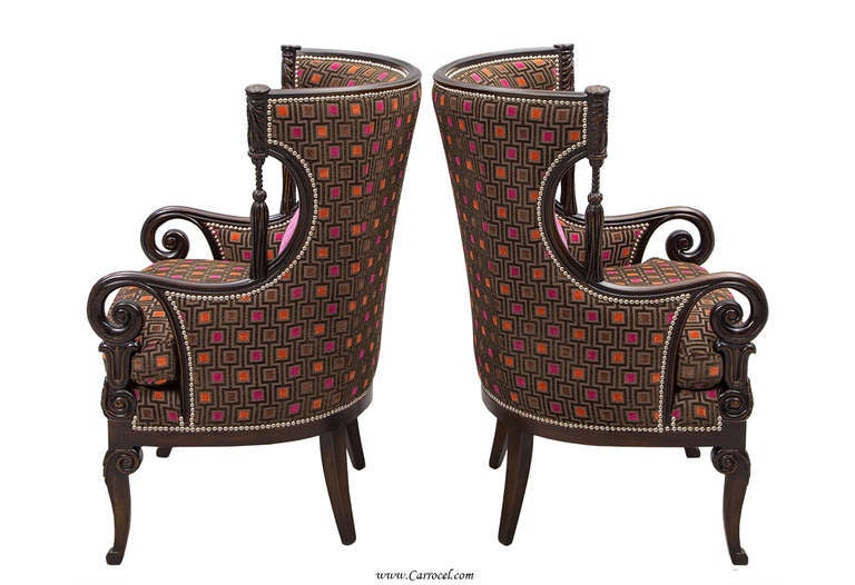Pair Of Antique Living Room Wing Arm Chairs For Sale At
