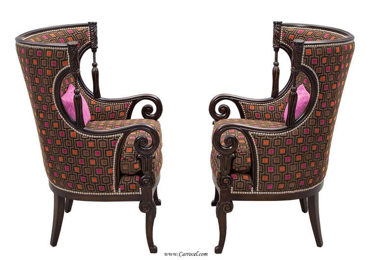 Pair Of Antique Living Room Wing Arm Chairs At 1stdibs