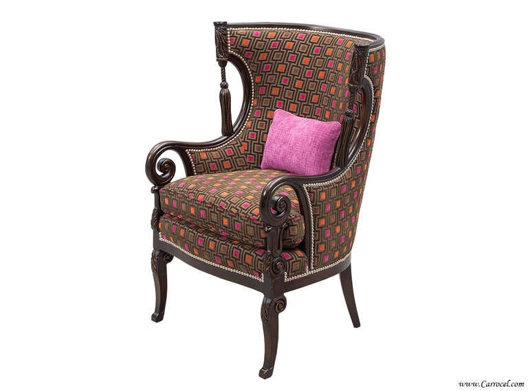 Pair of antique living room wing arm chairs for sale at for Pair of chairs for living room