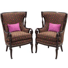 Pair of Antique Living Room Parlor Room Living Room Wing Arm Chairs